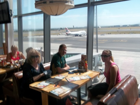 Waiting for our lovely Spur breakfast at the airport