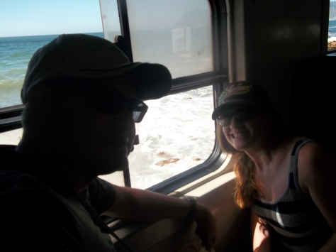 On the train from Woodstock to Simon's Town - lovely sea views!
