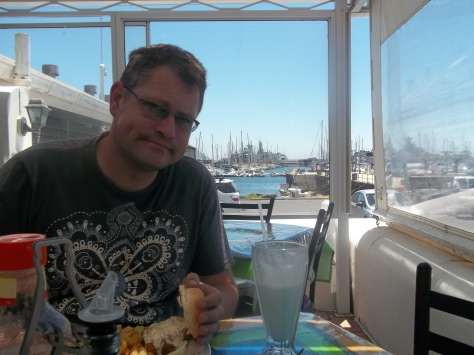 Enjoying a milkshake and fish burger at the Salty Sea Dog