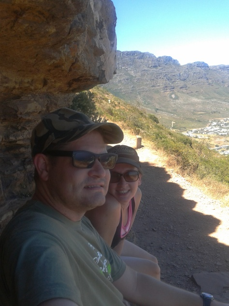 Taking a break on the climb up Lion's Head