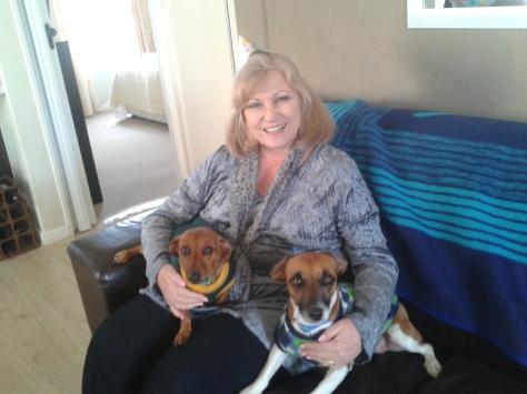 Mom and granddogs celebrating mom's birthday