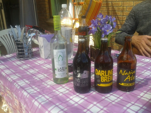 Some of the interesting drinks - craft beers Dad received for his recent-ish birthday, as well as a bottle of white (green?) Laid Back wine