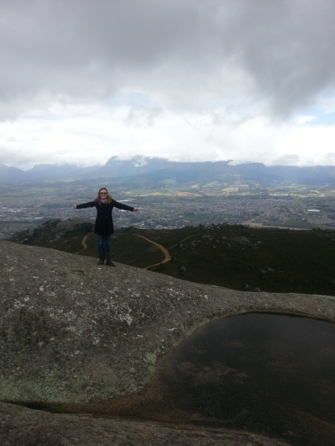 Snow on the mountains behind me, near the top of Paarl Rock - not such an easy climb as it was wet and slippery, luckily there were chain ladders to hold onto!