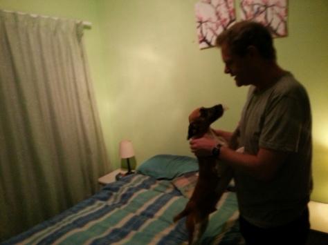 Bertie greeting Uncle Spec