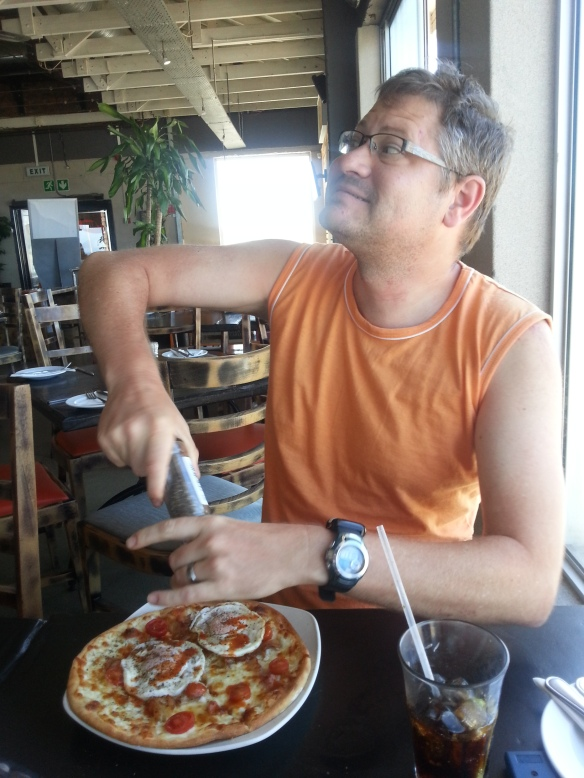 Boxing Day breakfast pizza and Coke at Primi - Spec had the same, I had a more sophisticated croissant and cappuccino