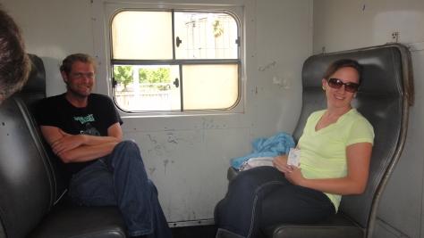 Spec and I enjoying the train trip to Simon's Town