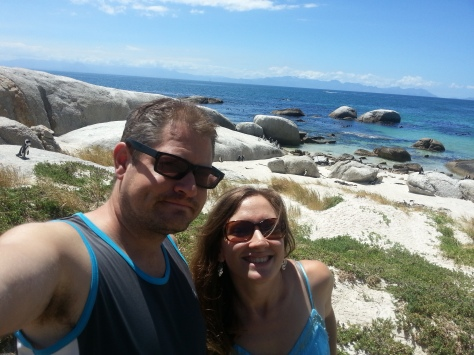 Proof we were there - note pretty penguins near the boulders below us