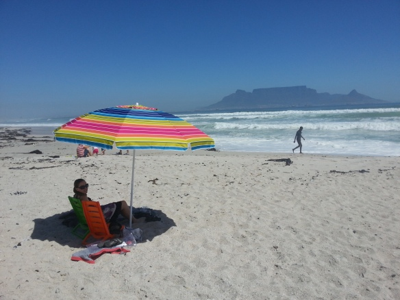 One of the beach visits, under the new beach umbrella