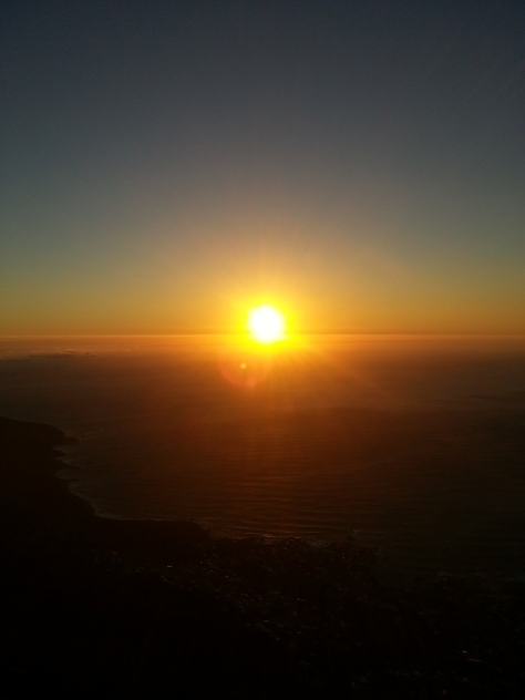The gorgeous sunset, as seen from the top of Table Mountain