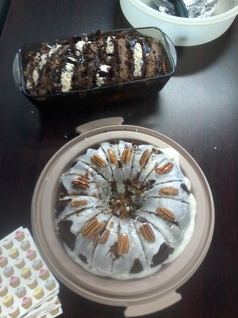 My two yummy birthday cakes made by mom to take to the office! The famous nutty carrot cake and an amazing chocolate marble loaf