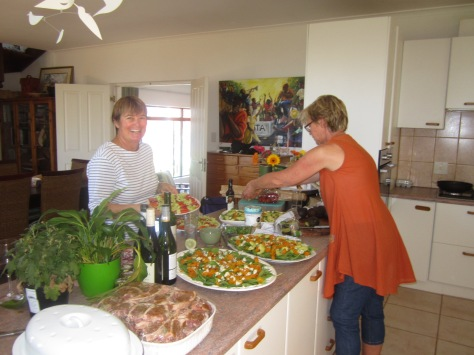 Our lovely hostess Janet with just some of the delicious spread