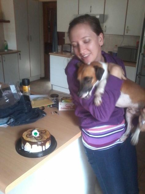 Eyeing our little birthday cake