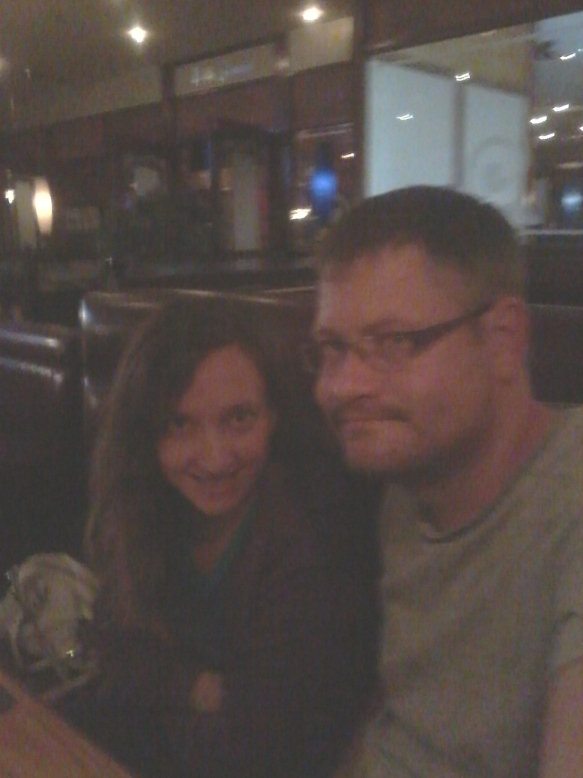 Very bad lighting, but that's us having celebratory burgers and milkshakes at Cattle Baron