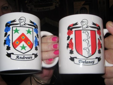 Andrews and Delaney family crests