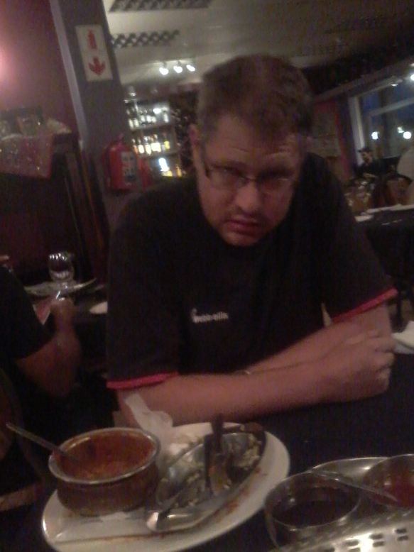 Look at that face! Loved his hot chicken madras. Only likes curry of the 'too hot for regular people' variety