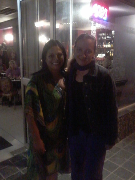 Prim and I outside her restaurant. Excuse the purple trackshoot - it was cold. And I like purple