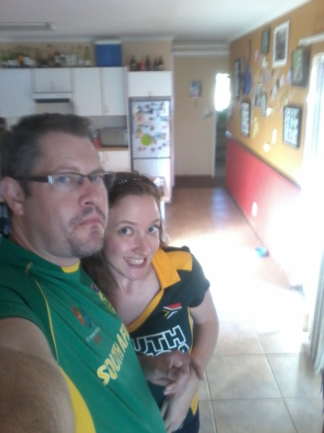 My, but we do pull funny faces when we take selfies! Lol. This is just to show we were both wearing the 'gold and green' to support our boys - and it seemed to work, we won! Woohoo