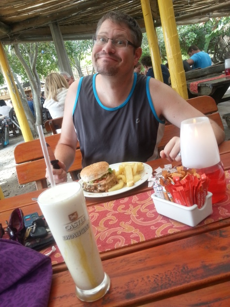 Yay! The Spring Surprise burger special was still on at Driftwood Cafe, even though Spring has come and gone. Accompanied by a long Cola for him and a deliciously incorrectly labelled peanut butter shake in a Castle glass for me