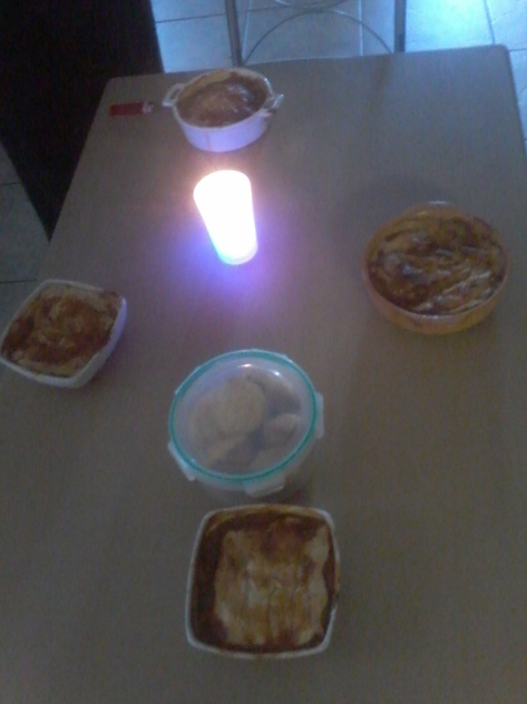 Candlelit birthday supper the next night - my mom made us each an individual 'steak and ale' pie, and brought over some extra gravy to dress the doggies' dins
