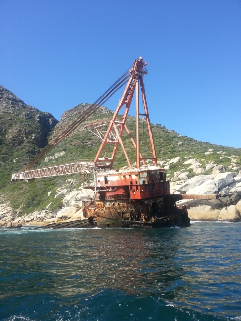 The wreck at last. The Bos400 which came adrift in 1994, been nestled around the corner from Hout Bay ever since.