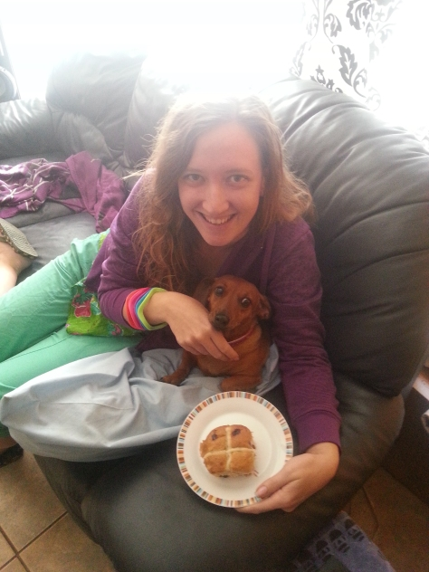 Bassie looking far more interested in my choc-chip hot cross bun than her selfie with mom