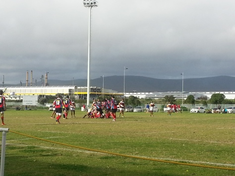 Watching the rugby! With a big storm brewing in the background!