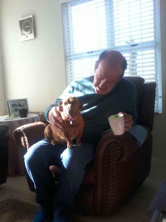 Bassie sat proudly on her Grampa's knee that afternoon as they told each other about their recent walks