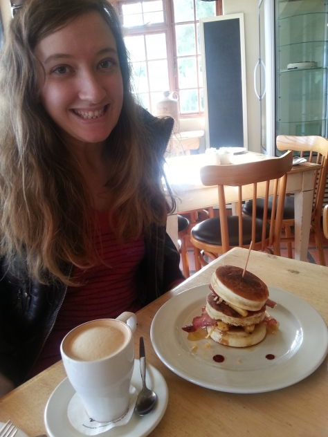 Excited for flapjack stack with bacon, banana, grated cheese and berries. The cappuccino was not yet sipped, hence me still looking very tired