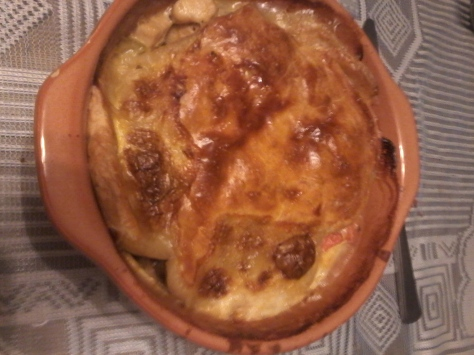 Mom made us individual chicken, mushroom and leek pies for supper on Wednesday - so good!