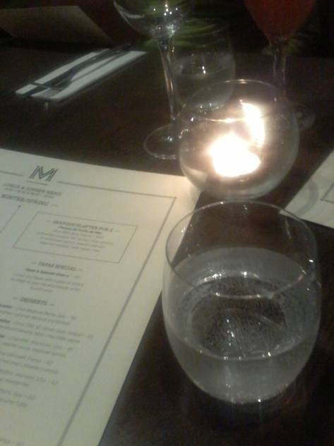Sparkling water and pretty candlelight while perusing menu