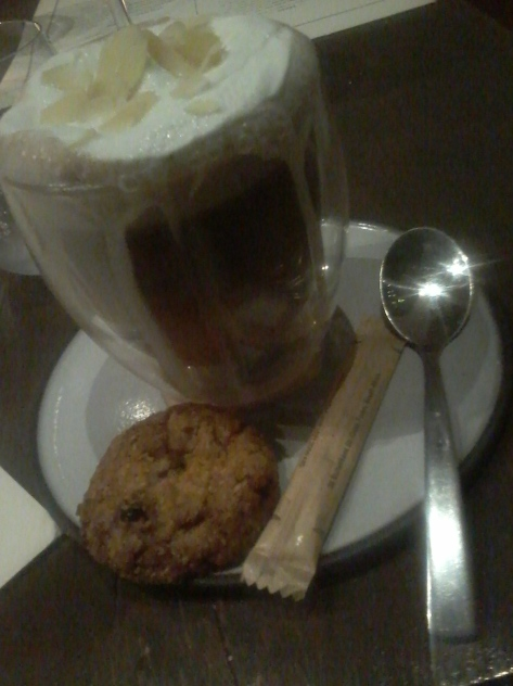 Look at that hot chocolate effort! Brimming with cream and flaked almonds, AND a cookie on top means it gets top marks (and at R45 it's not too bad if you factor in the Frangelico)