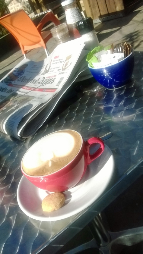 My Sunday morning cappuccino, with dunking shortbread biscuit on the side, summery sunshine and the weekend paper. Bliss. All sold at Reload, Parklands