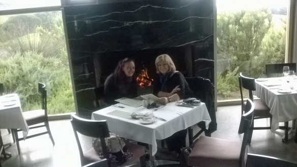 Yes, it was cold enough for us to sit by the fire. Right in front of it, in fact. We ended up warm as wombats. (What? Wombats live in Australia. They're warm, trust me.)