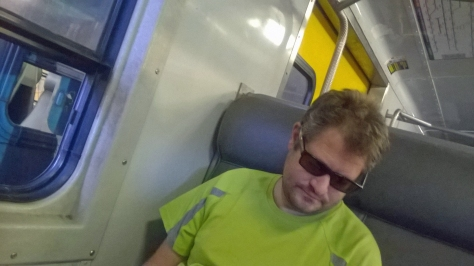 Proof of Husband on the train (and another sneaky shot of his 'before hair')
