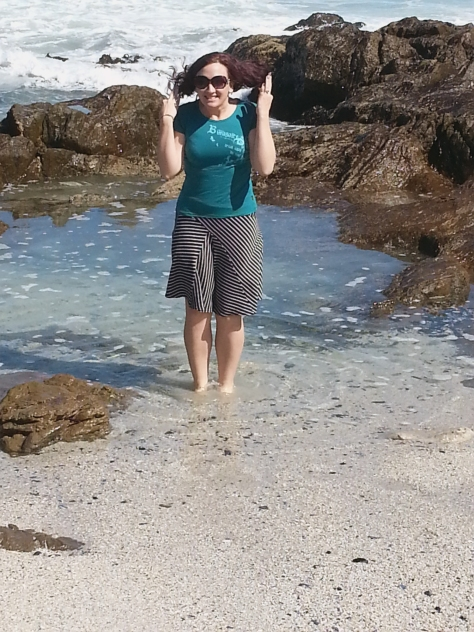 Reason number one for Blouberg beach being deserted: It was WINDY! Look how my hair was blowing in the breeze! (Note I am bravely standing ankle-deep in the cold cold sea)