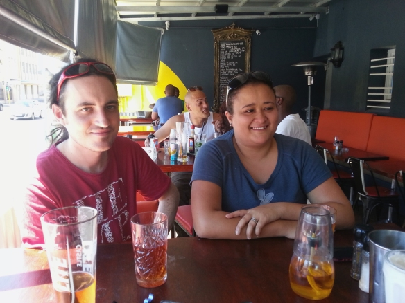 To warm up we went for lunch. Here are the Pantlands! Note Frank's glass of yummy pomegranate cidery drink. Most unusual
