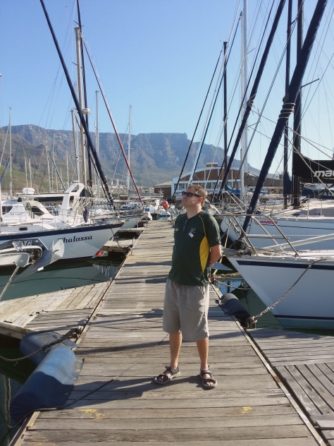 Admiring all the yachts. We walked over all the unstable wooden bridge efforts. to do so