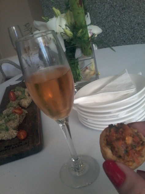 A delicious glass of Pierre Jourdan Rose with scrummy little canapes at a sunset event I attended this week (different to the Movember event, obvs)