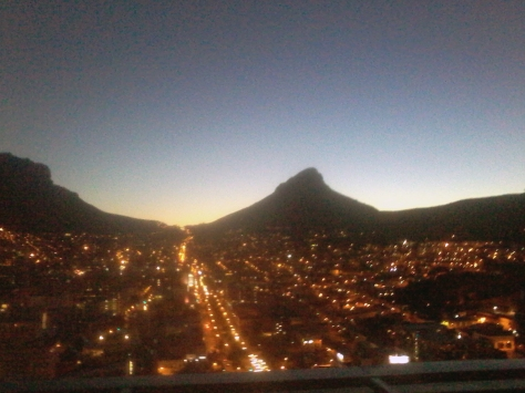 My phone does not take great photos at night, so I apologise for the poor quality but couldn't resist snapping Lion's Head lit up at sunset from the 28th floor of the FNB Portside building