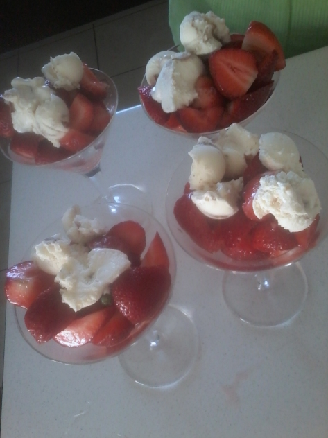 Muscadel-drenched strawberries with scoops of tin roof ice cream at Mum's