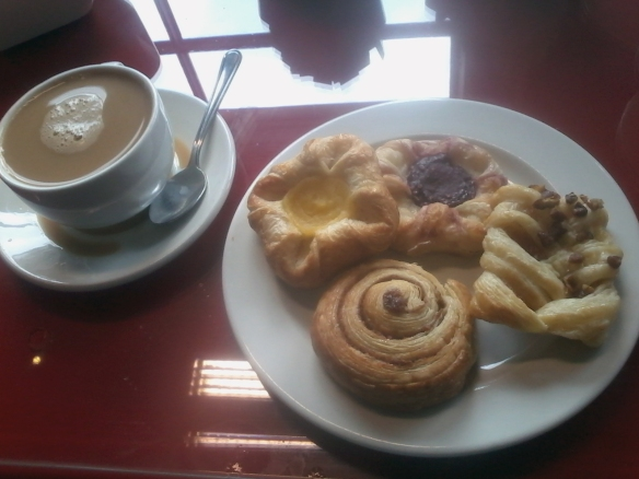 Hotel breakfast pastries! Ignore the coffee spilled in my saucer...