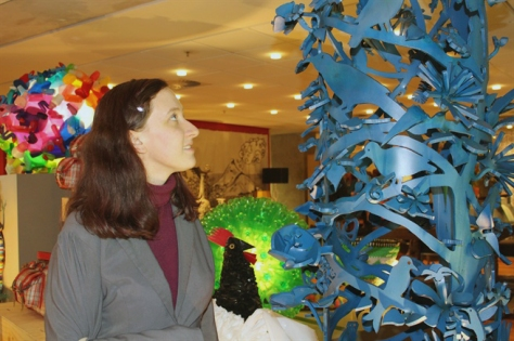 Me, looking a little like Alice in Wonderland at the Design House Exhibition, according to my colleague who snapped this shot - see, birdies again