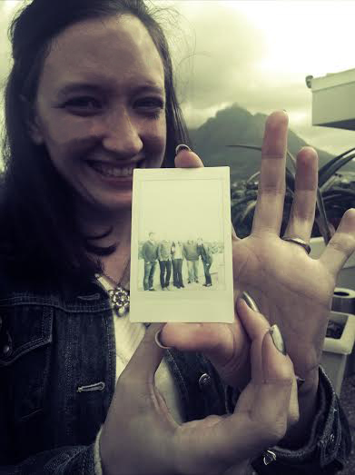 An actual keepsake Polaroidy photo we had to shake to develop! Excuse funny lighting/colouring, that's back of Table Mountain behind me