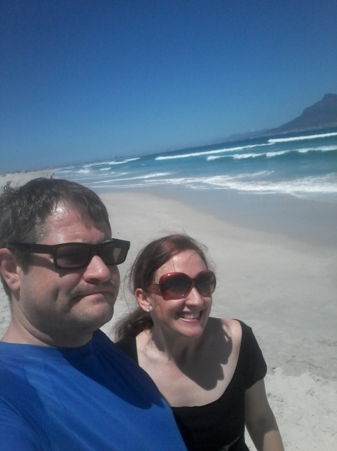 Beach selfie! This was at Dolphin Beach on Sunday, my favourite as it's got that icing sugar-quality sand and hardly ever has any litter (though we each picked up a handful)