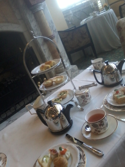 """""""Your first course is served, Marm"""" - delectable savouries and a two-and-a-half-cups-filling tea pot. We tucked in to our tea while waiting for Duncan to arrive. Mine was Vanilla Bourbon, Jana had Jasmine Pearl"""