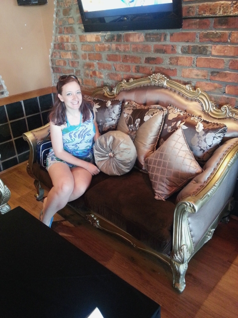 Couldn't resist sitting on the pretty bronzey couch set-up at Cubana when we breakfasted