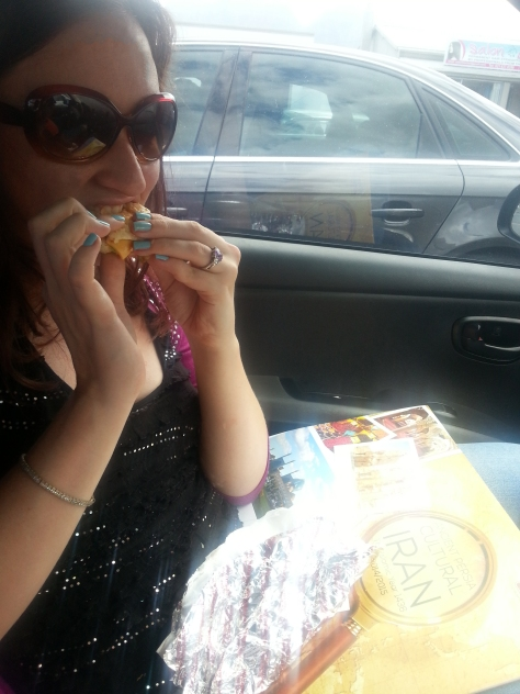 My frikkadel cheese burger was just as good. It was raining so we ate in the car, as you can see - despite having to go inside to order.