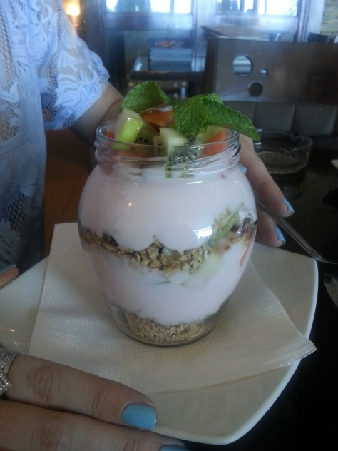 We noticed there's an early bird breakfast special at the News Cafe if you order before 10am, so were back the next day for this amazing muesli jar, R30, and a just-as-good eggy breakfast for Husband - down the gullet too fast for a photo, alas