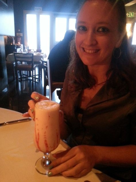 One of the nicest strawberry milkshakes - real fruit bits at the bottom, This was at Indian Chapter 2 in Blouberg
