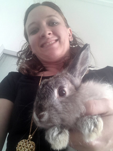 Bunbun let me pose with him. Very odd angle makes him look huge - he's really about half the size of Bassie!